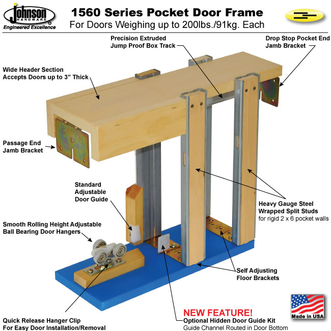 Pocket door kits wood specialties source for quality for Door jamb size for 2x6 walls